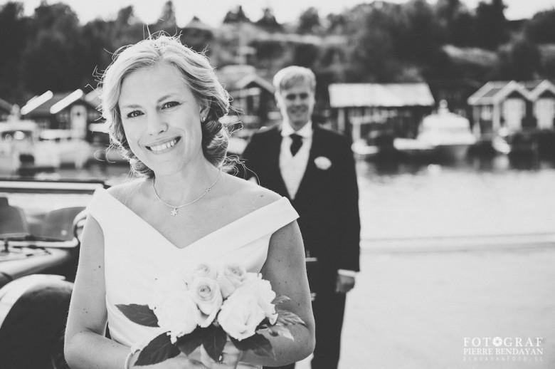 Bröllopsfoto vid Önnereds brygga - Maya och Fritjof